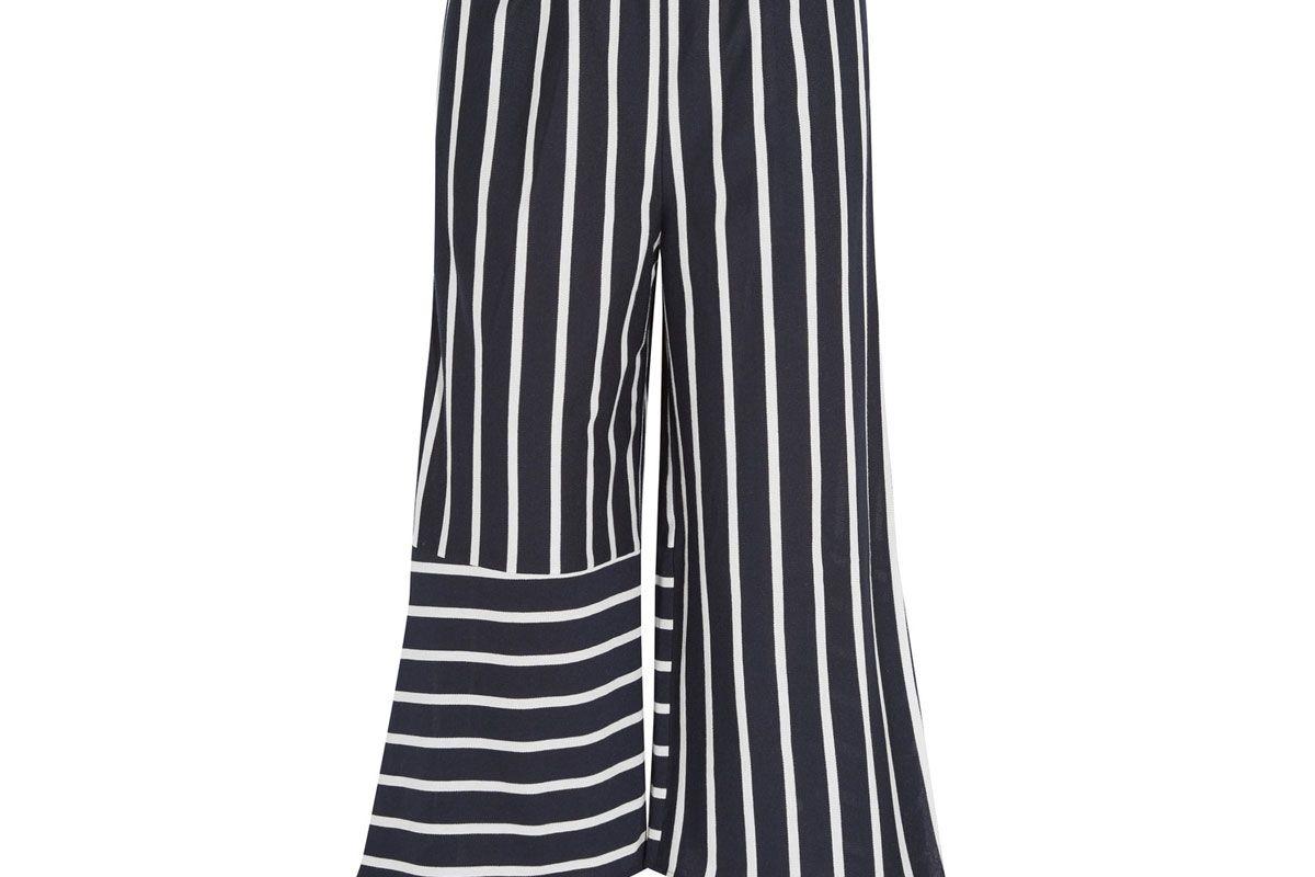 Cropped Striped Cotton-Blend Jersey Pants