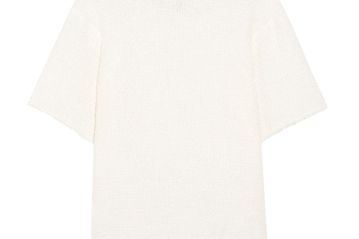 Vince frayed Embellished Cotton-Blend Bouclé T-Shirt