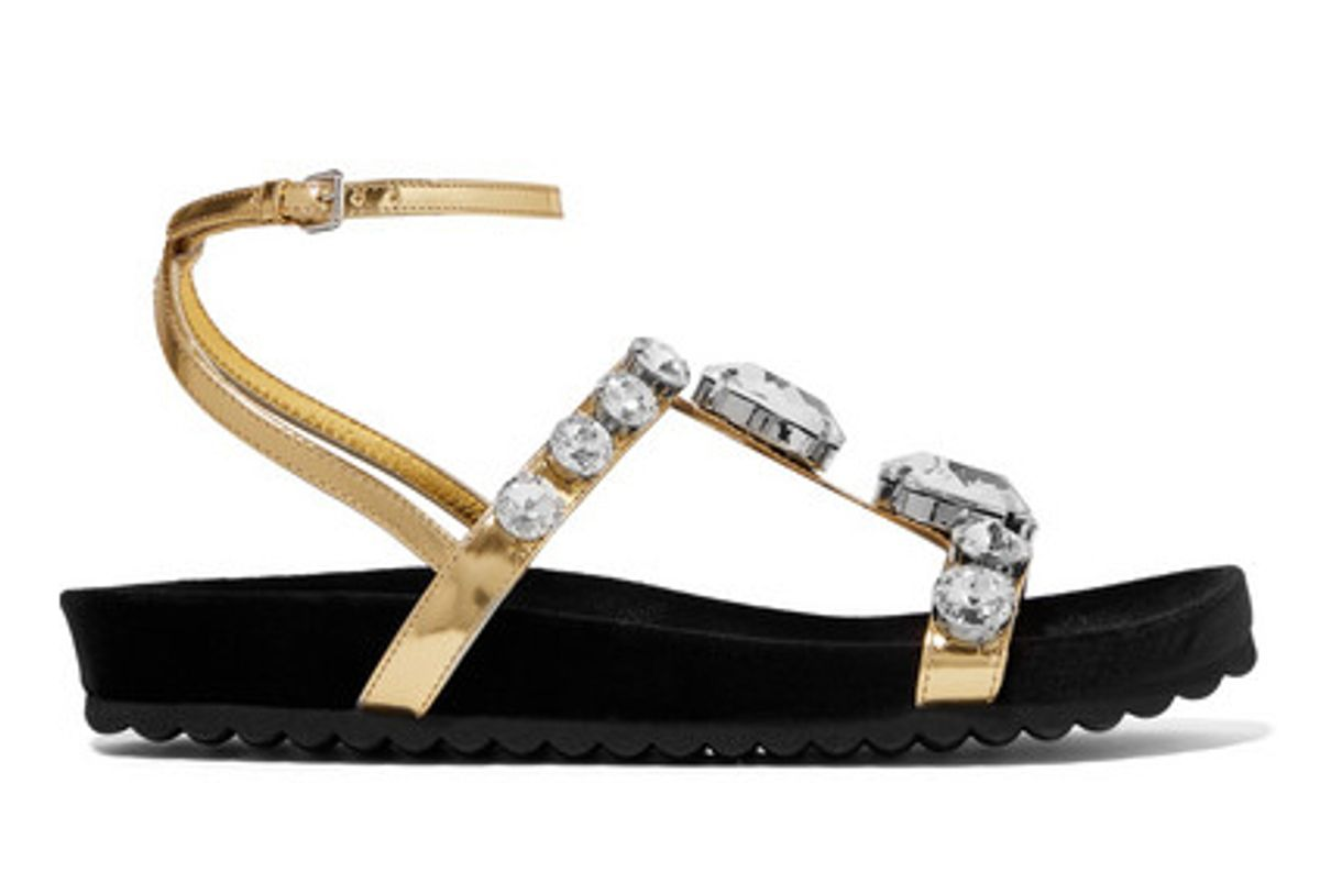 miu miu crystal embellished metallic leather sandals