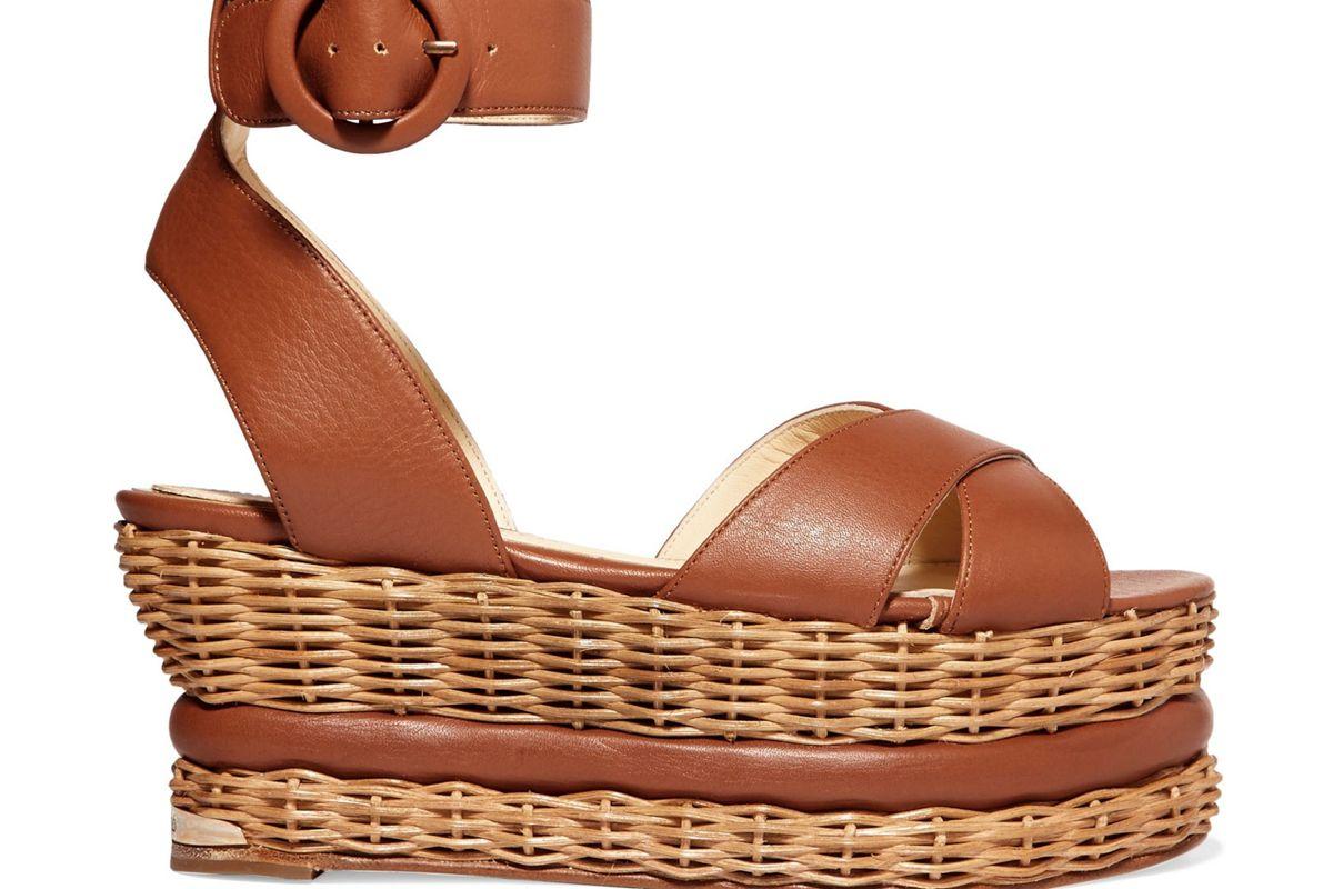 paloma barcelo violette leather and wicker platform sandals