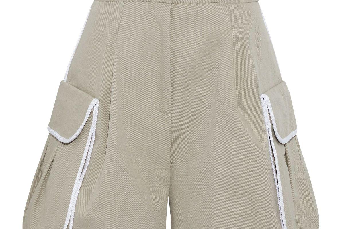 fendi pleated cotton twill shorts