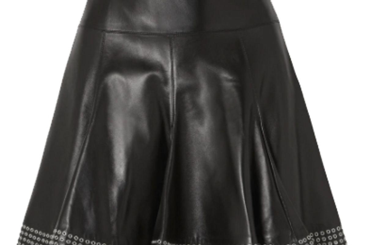 alaia eyelet embellished pleated leather mini skirt
