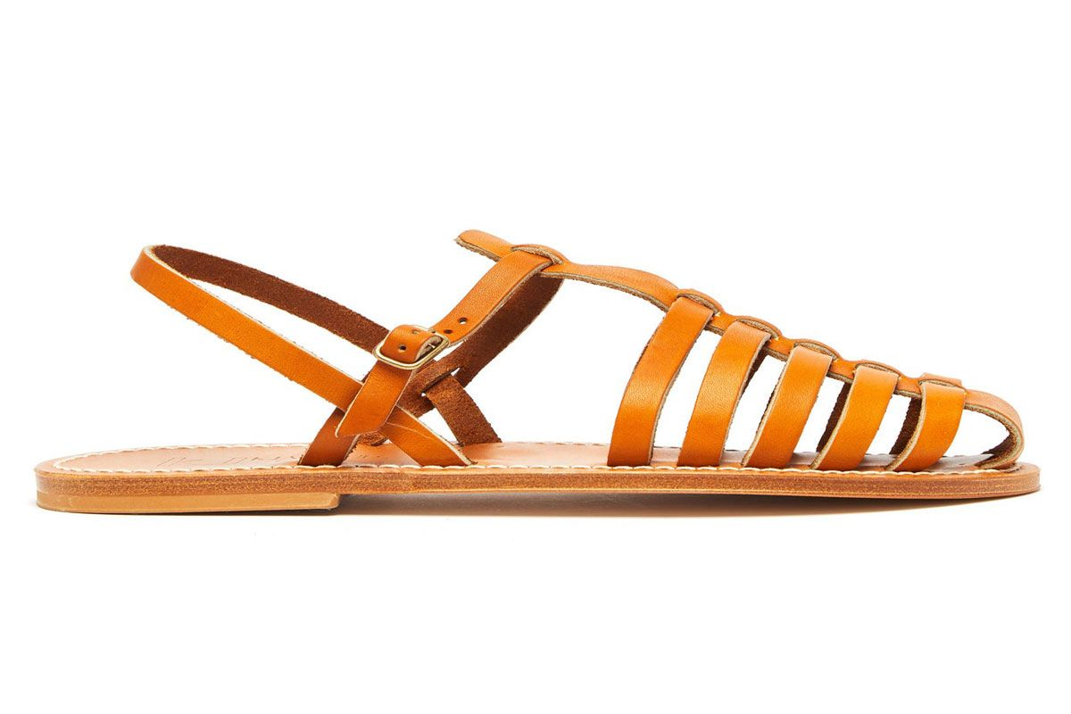 k jacques adrien caged leather slingback sandals