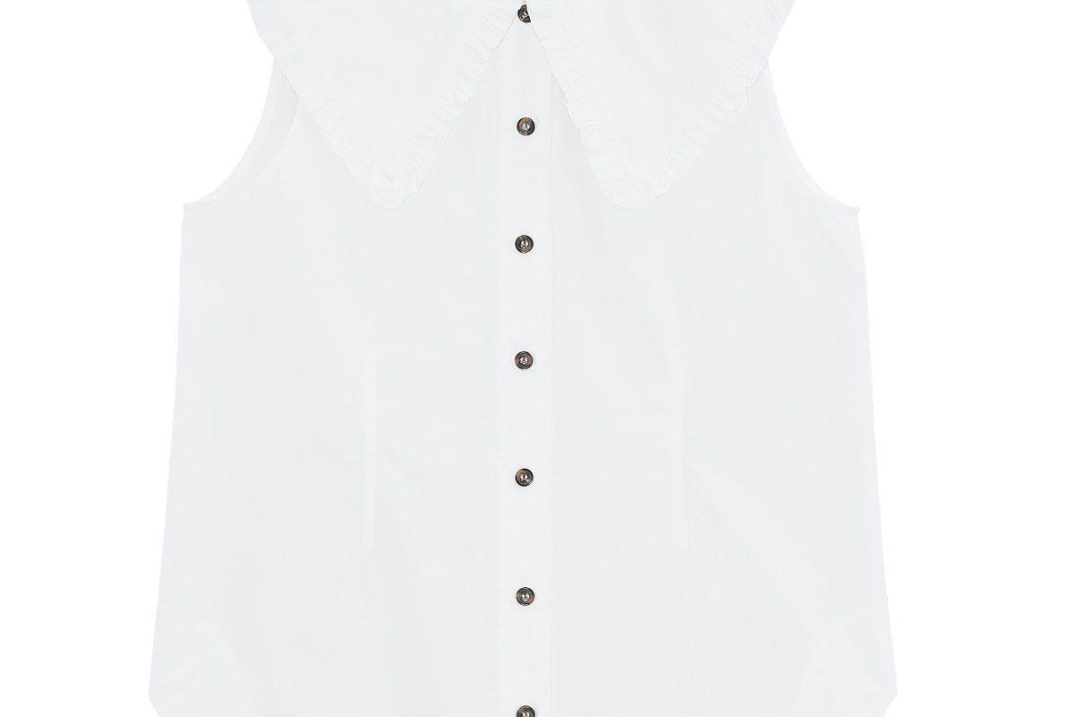 ganni cotton poplin sleeveless shirt