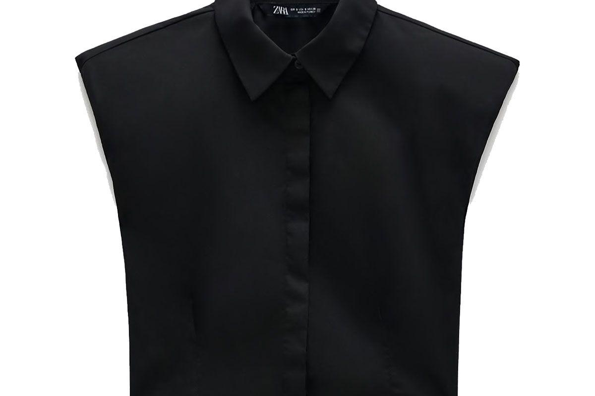 zara shoulder pad poplin shirt