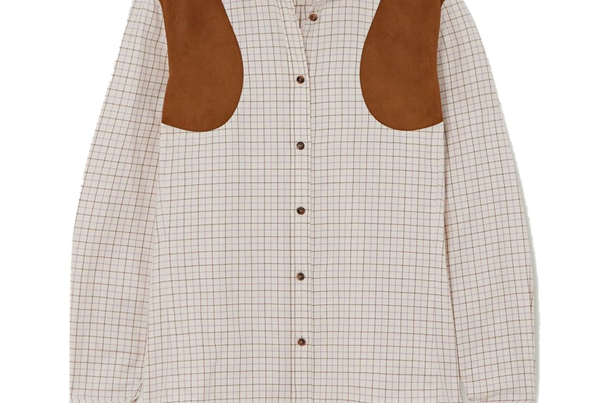 purdey faux suede trimmed checked cotton twill shirt