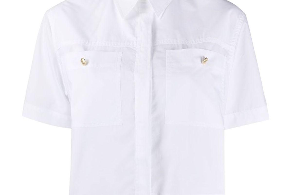 sandro paris goyan cropped poplin shirt