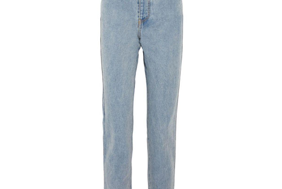 Printed grosgrain-trimmed high-rise straight-leg jeans