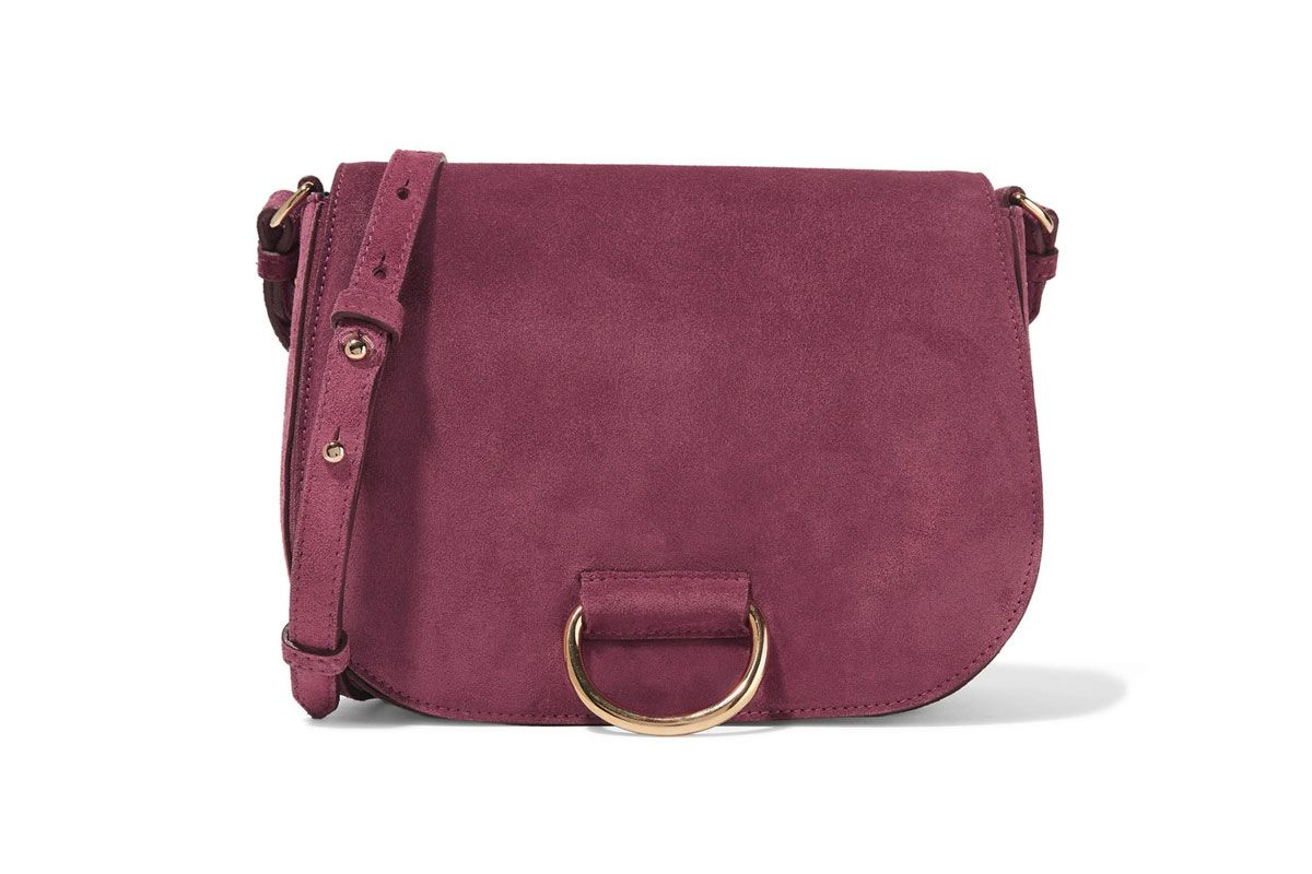 Saddle Medium Suede Shoulder Bag