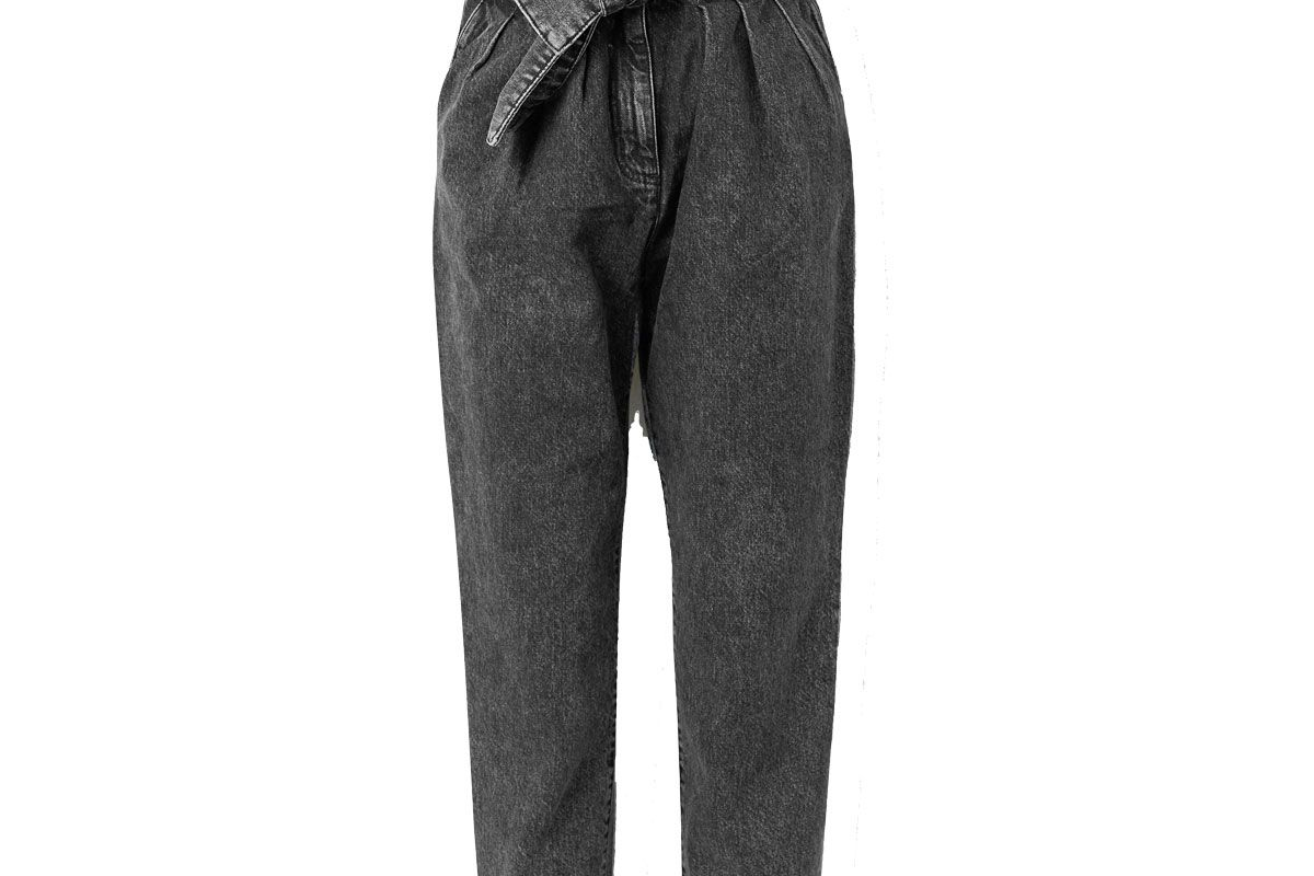 iro repu cropped belted acid wash high rise tapered jeans