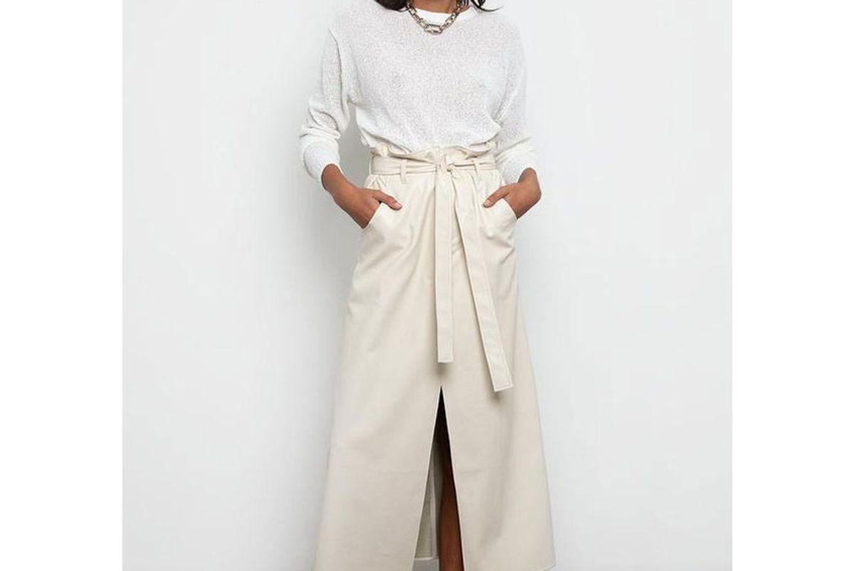 aeron angela faux leather skirt by aeron eggshell