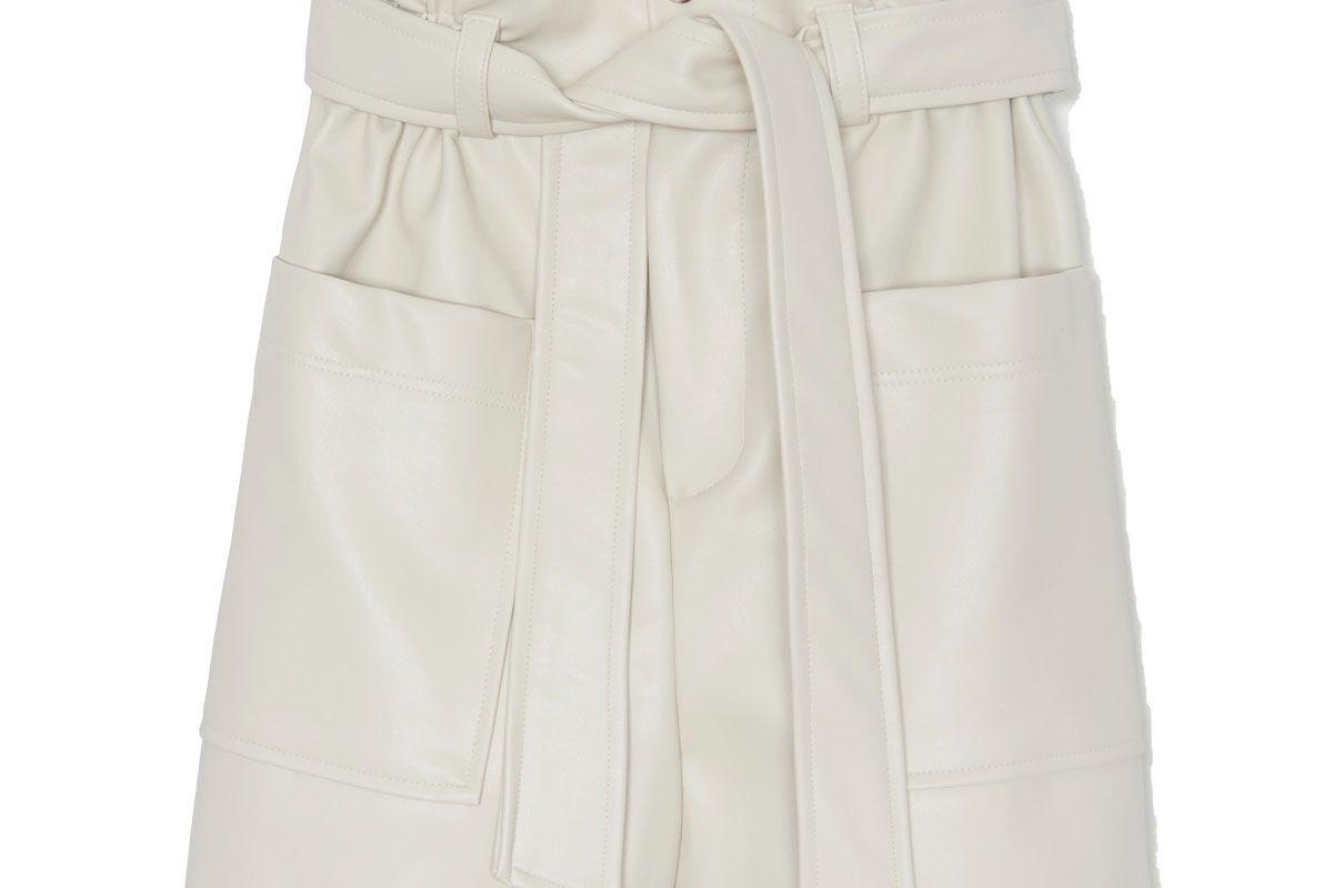 frankie shop alex belted faux leather shorts