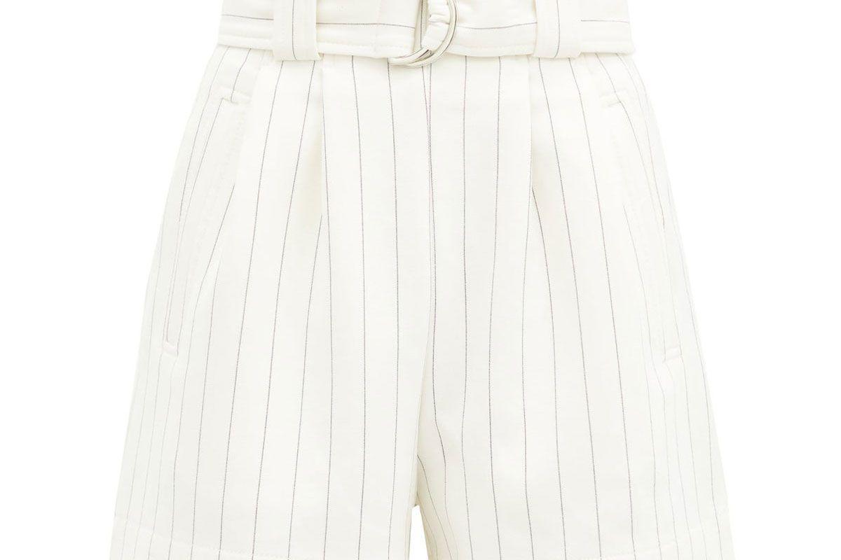 ganni paperbag waist striped crepe shorts