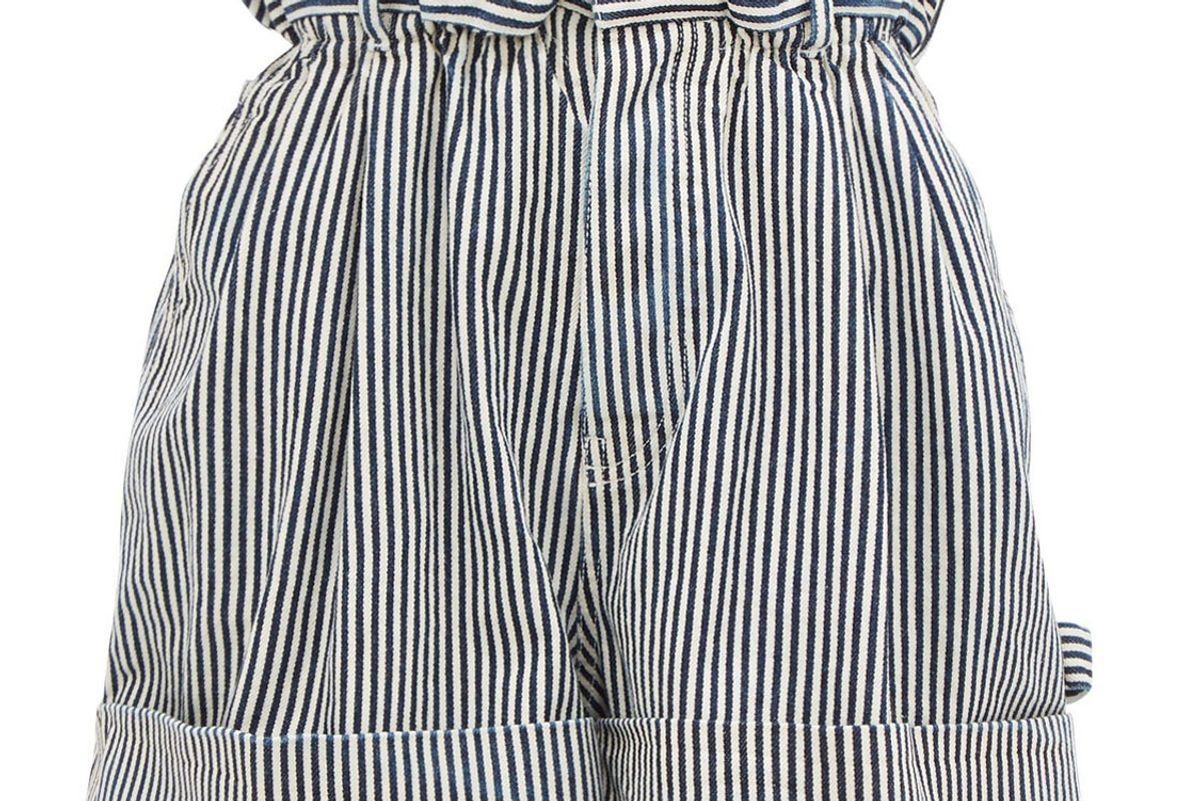 miu miu paperbag waist striped denim shorts
