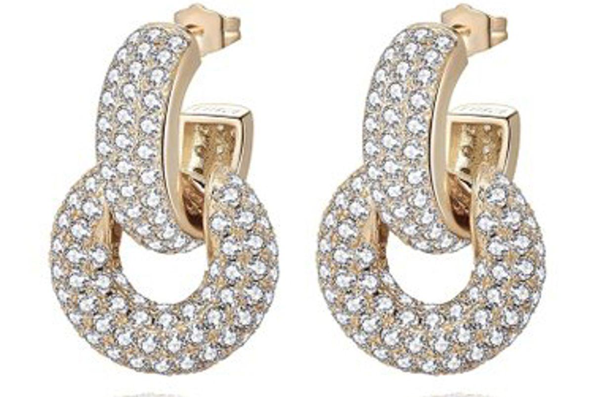 emili bella convertible crystal embellished 14k gold plated earrings