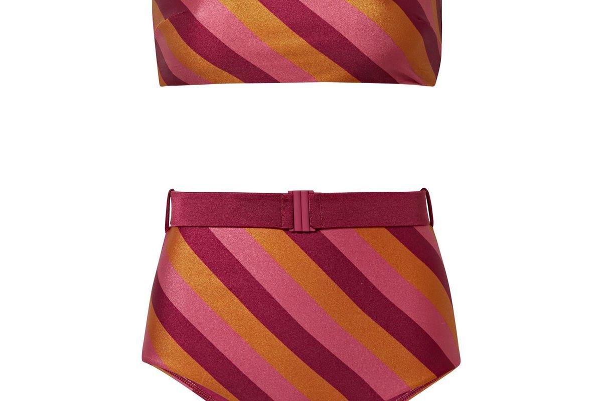 zimmermann kali belted striped bandeau bikini