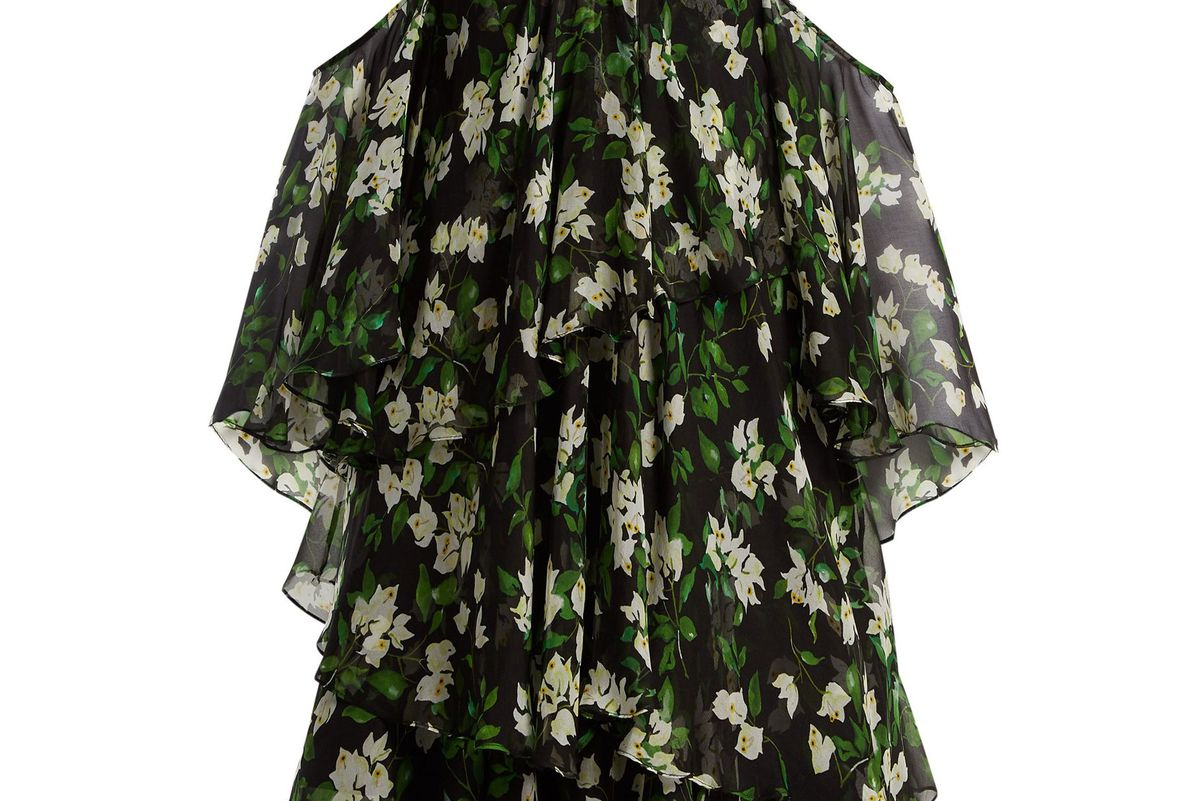 caroline constas paros floral print silk dress