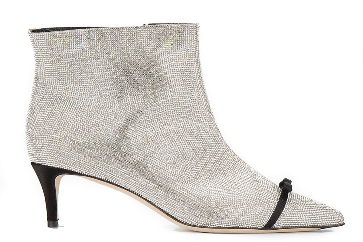 Crystal Bow Embellished Ankle Boots