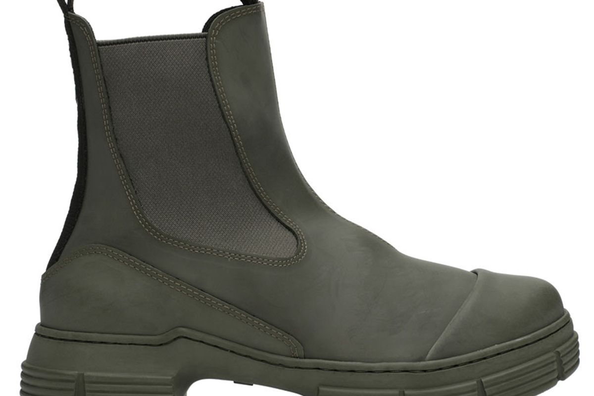 ganni khaki recycled rubber chelsea boots