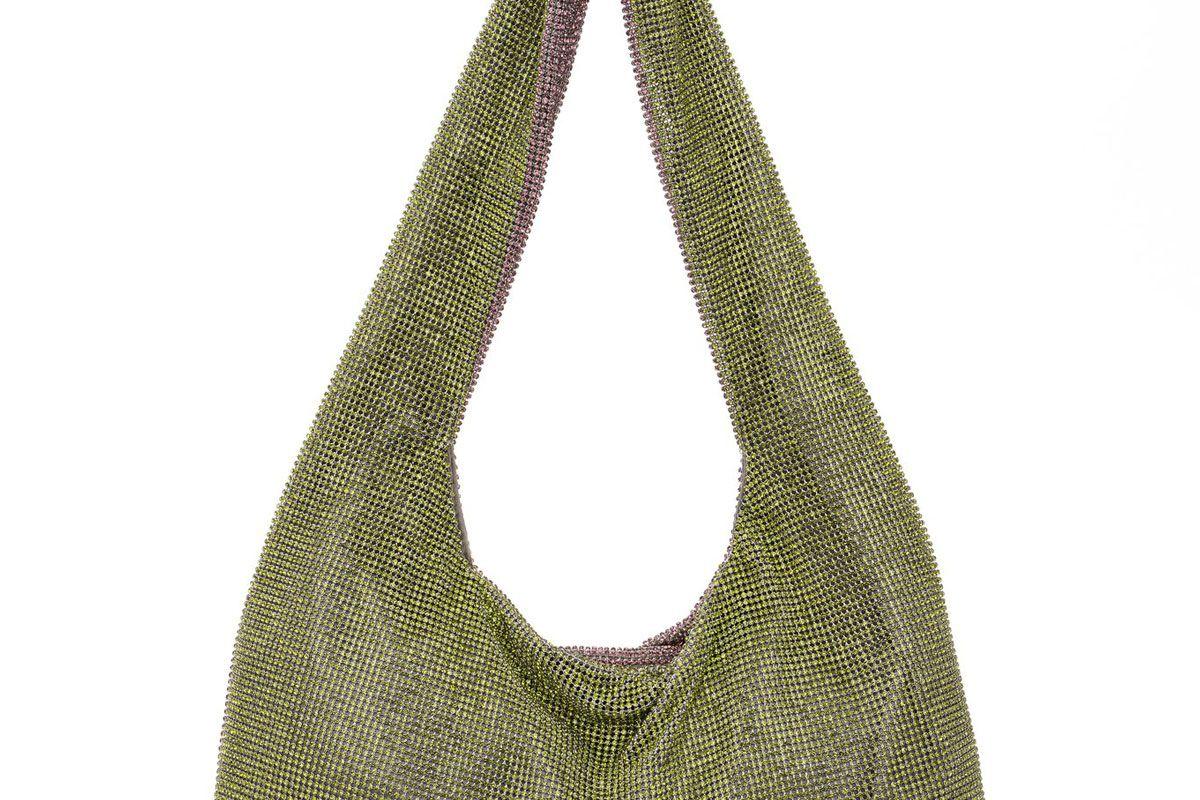 kara lilac olivine crystal mesh armpit bag