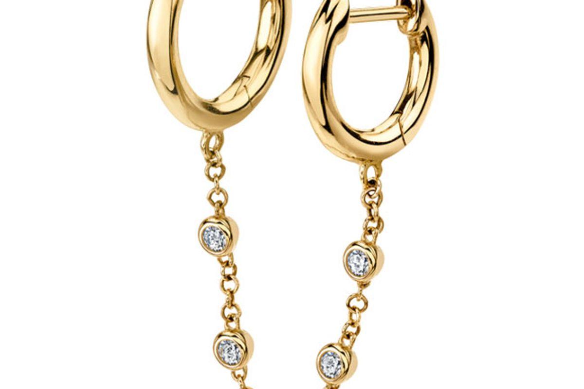 the last line diamond chain connected slim hoops earrings