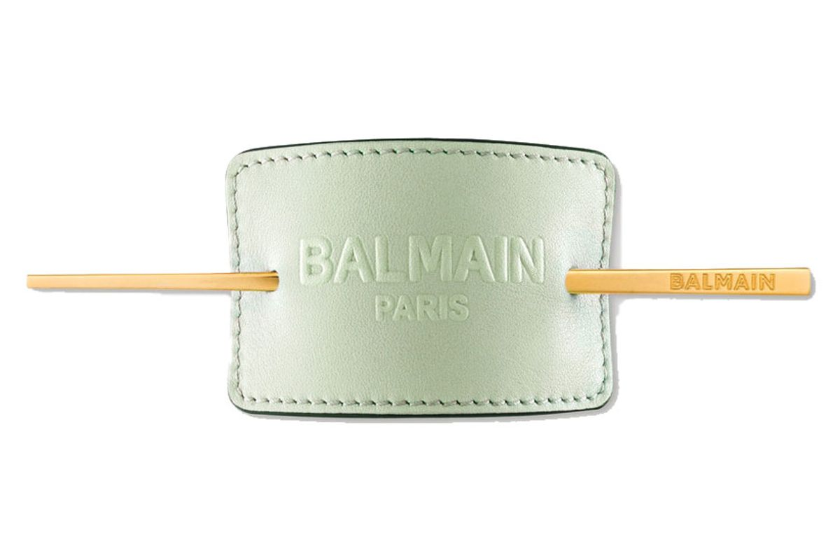 balmain paris hair couture gold plated and embossed leather hair pin mint