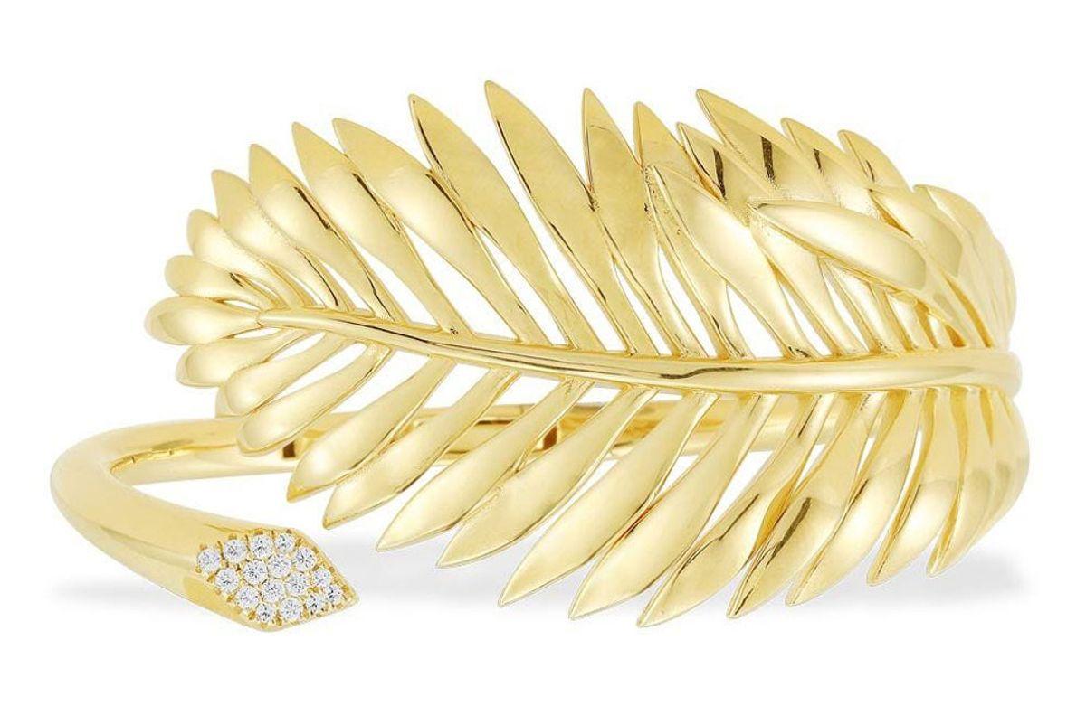 apm monaco collection tropicana palm leaf open cuff yellow silver