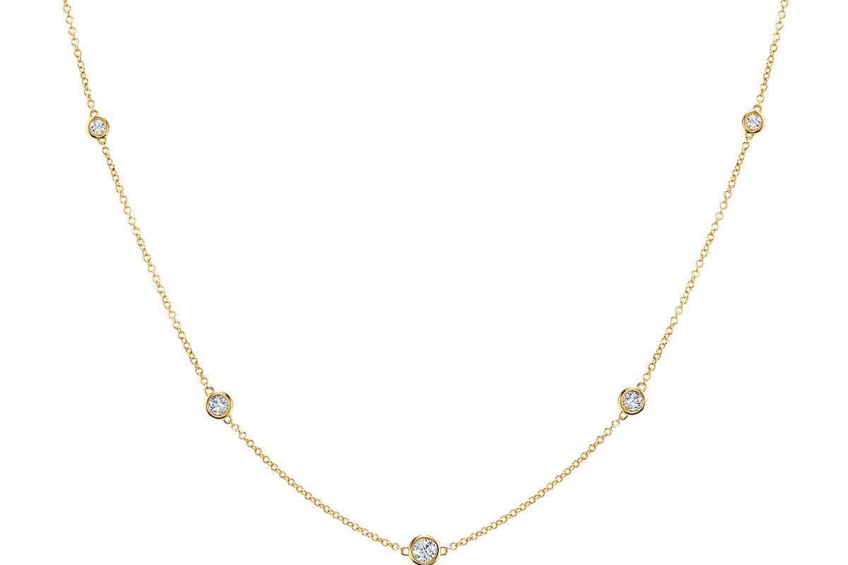 baby gold diamond bezel stand necklace