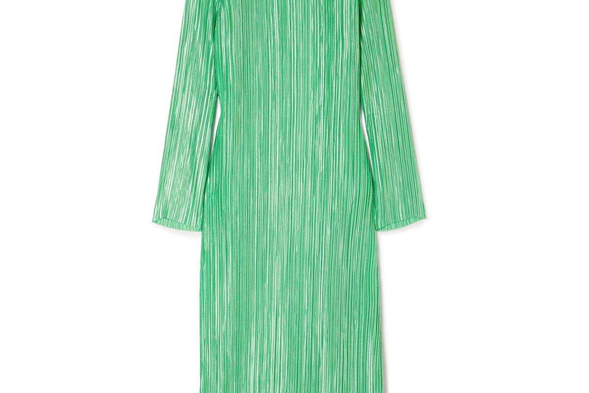 Plissé-Satin Midi Dress