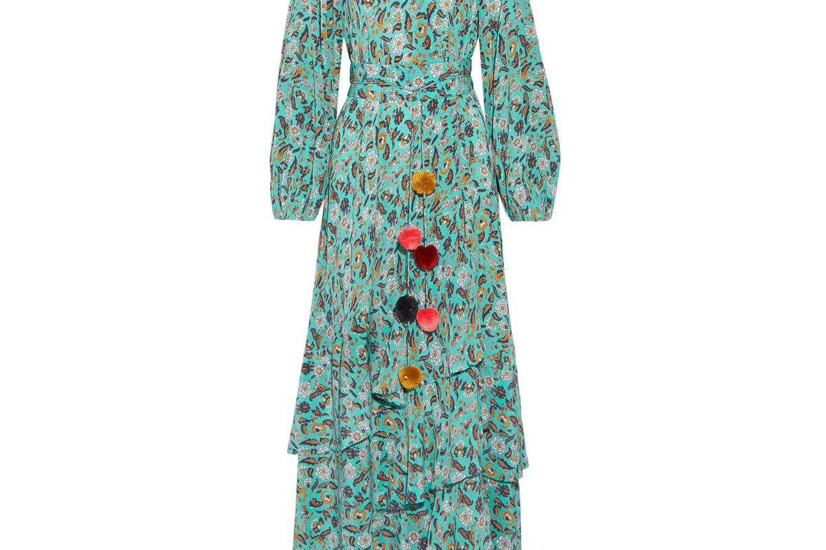 Frederica Tiered Floral-Print Silk Crepe de Chine Maxi Dress