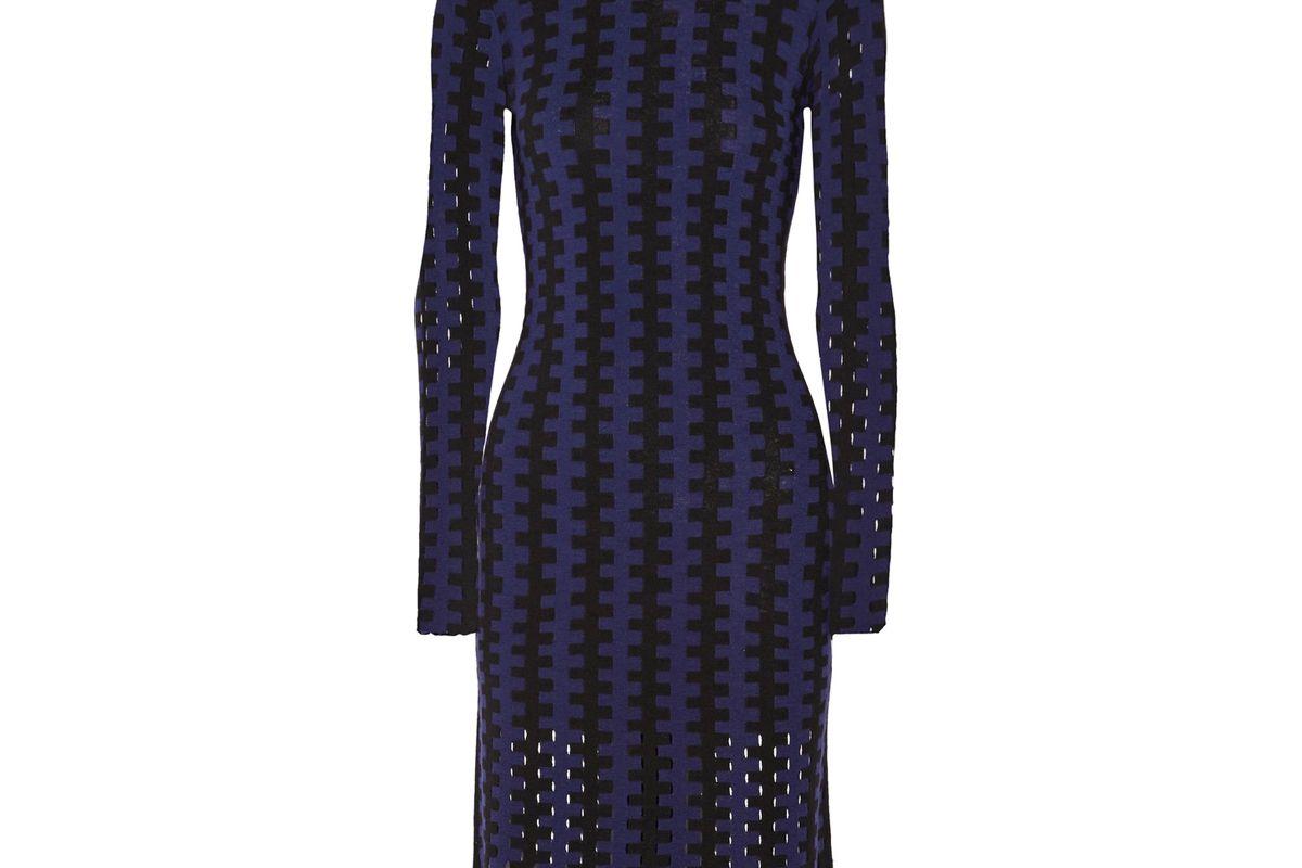 Cutout Two-Tone Wool Turtleneck Midi Dress