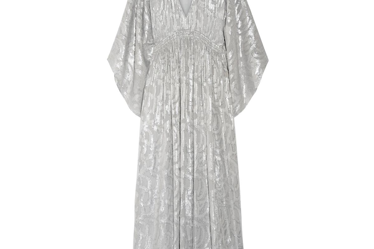 Raquel Metallic Fil Coupé Silk-Blend Maxi Dress