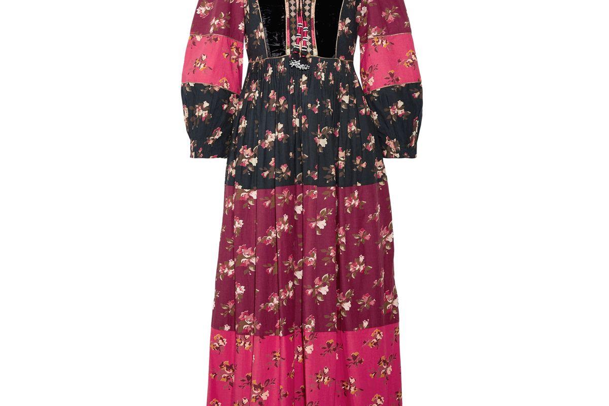 Suzana Velvet-Trimmed Printed Cotton-Blend Maxi Dress