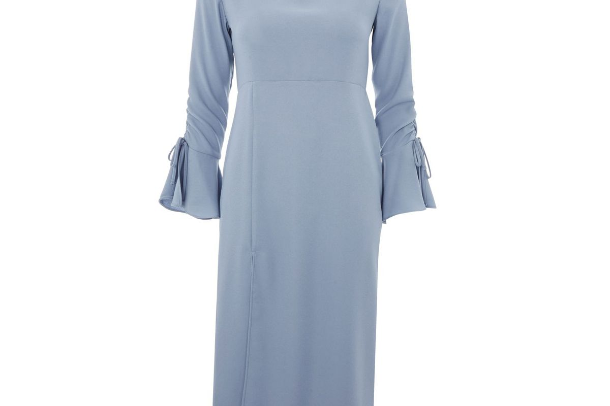 High Neck Rouch Midi Dress
