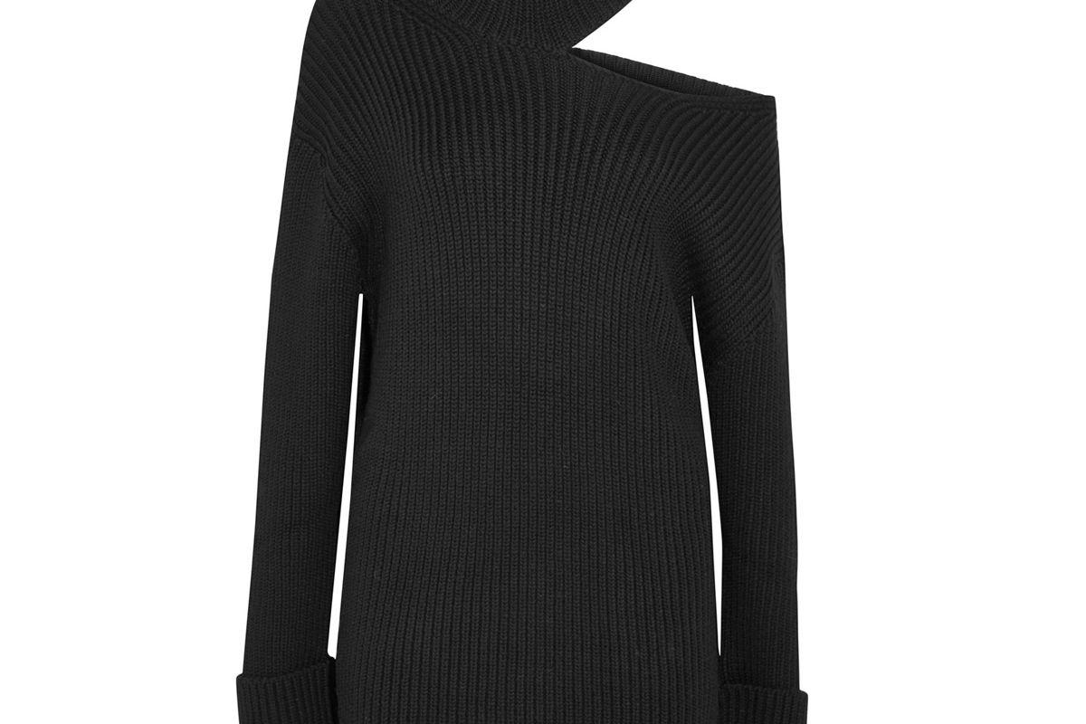 Cutout Ribbed Wool Turtleneck Dress
