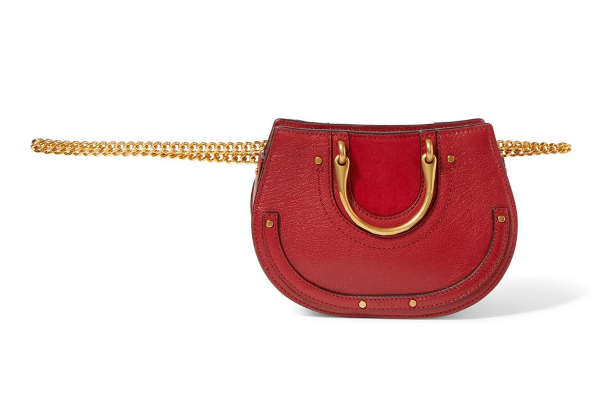 chloe pixie mini suede and textured leather belt bag