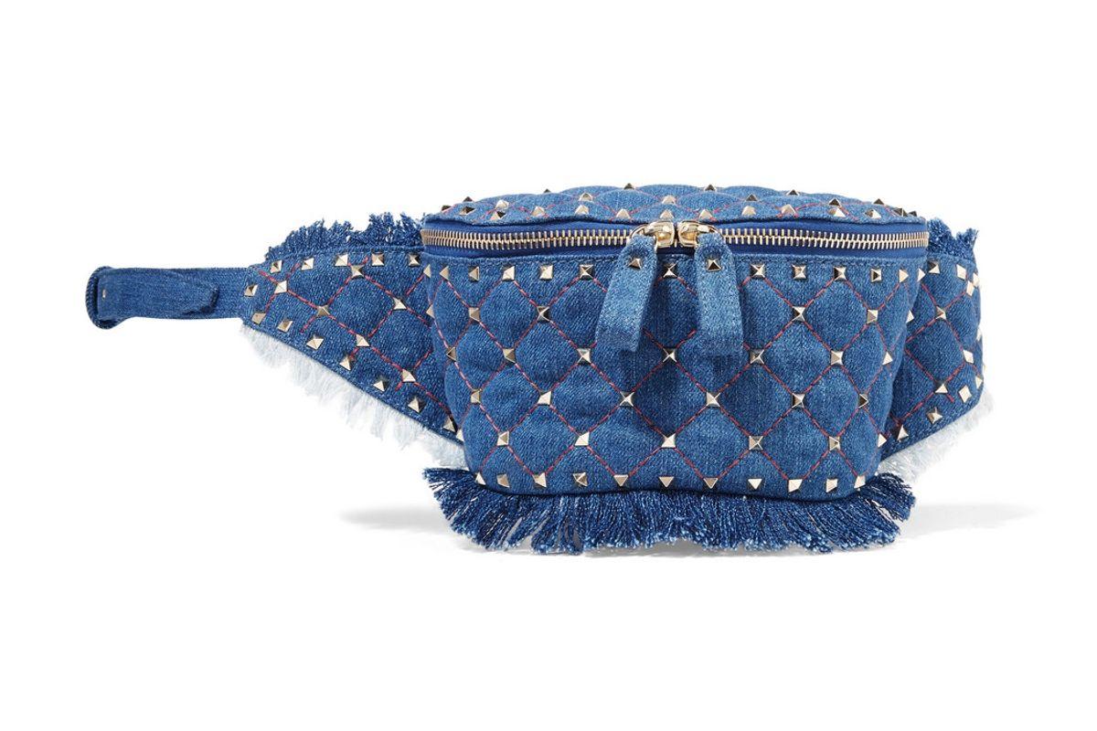 valentino garavani the rockstud quilted denim belt bag