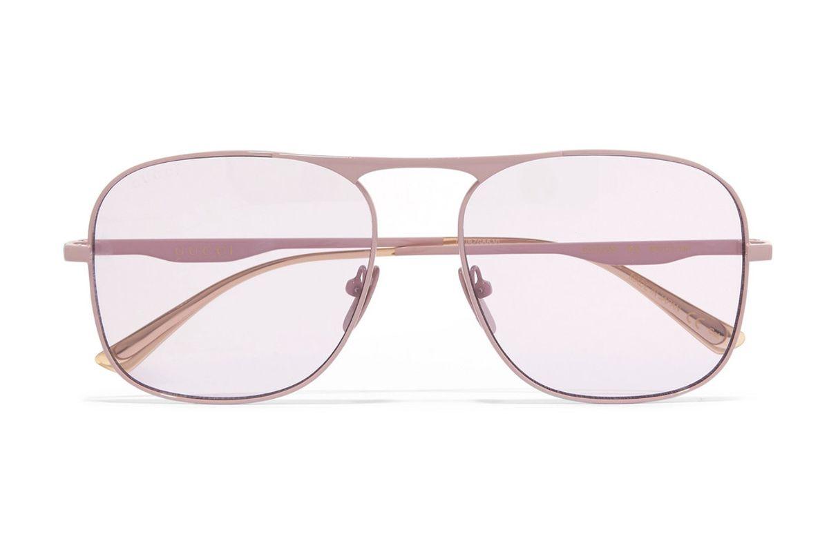 gucci aviator style metal sunglasses