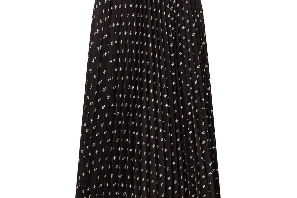 balenciaga sunray pleated printed satin skirt