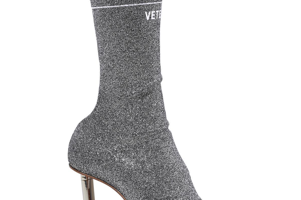 vetements logo print lurex sock boots