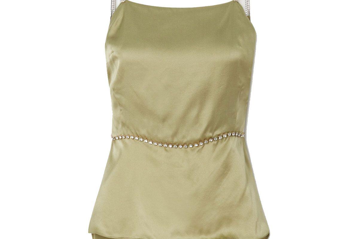 harmur open back crystal embellished silk satin top
