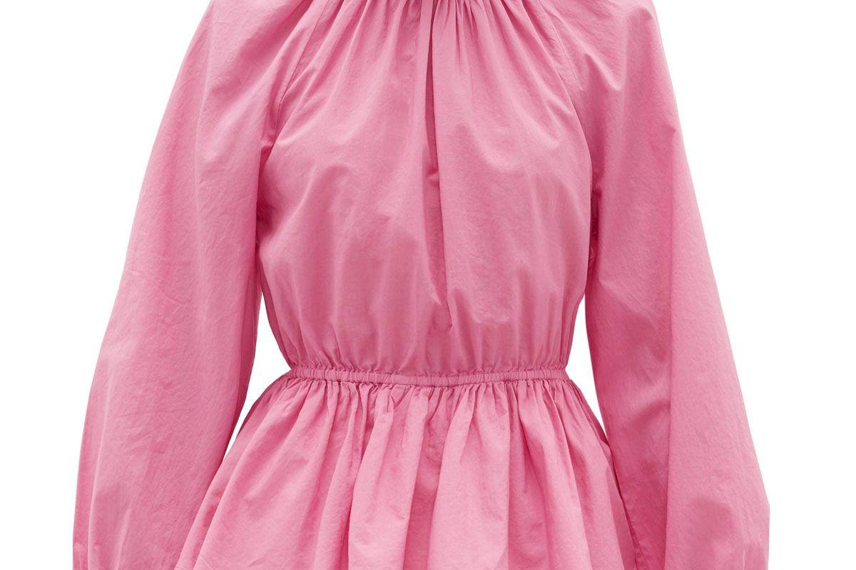 rhode damien high neck open back cotton blouse
