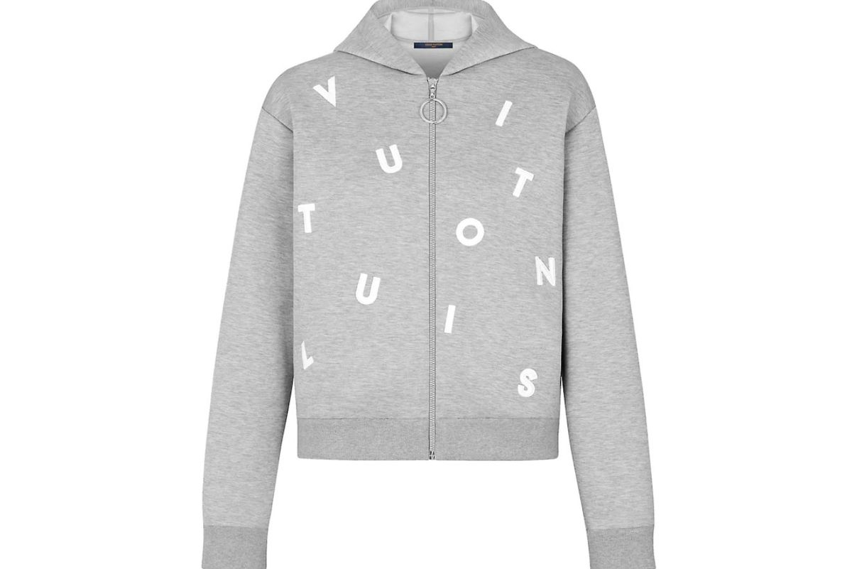 louis vuitton letters embroidered hooded sweatshirt