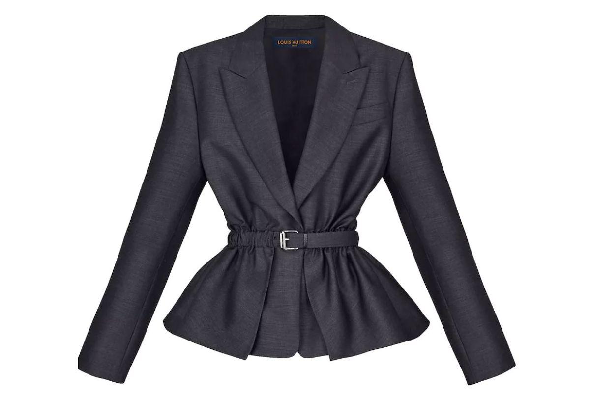 louis vuitton flecked wool belted jacket