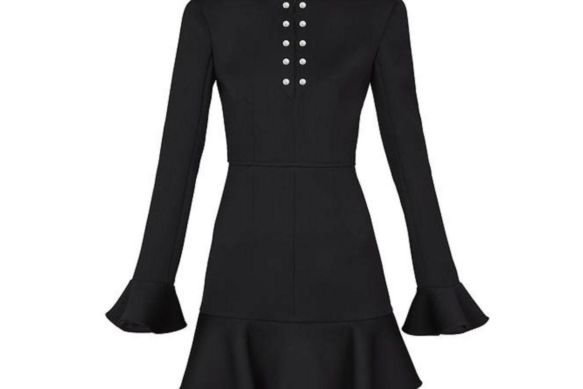 louis vuitton stretch wool frill sleeve dress