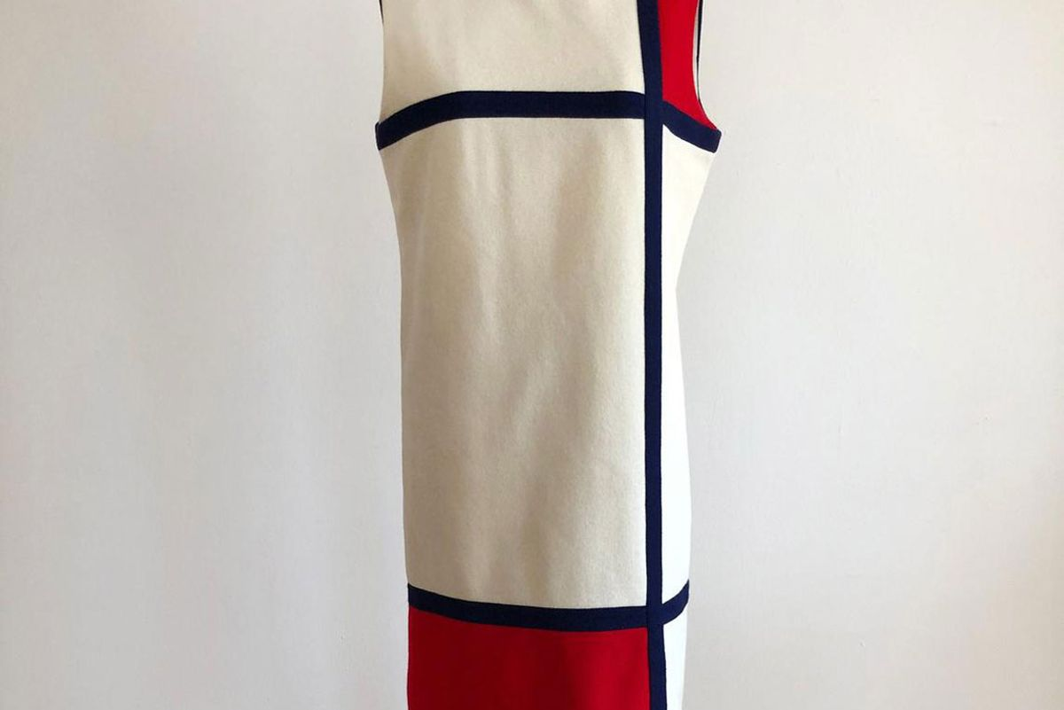 logansclothing cream red and blue colorblock pinafore shift dress 1960s