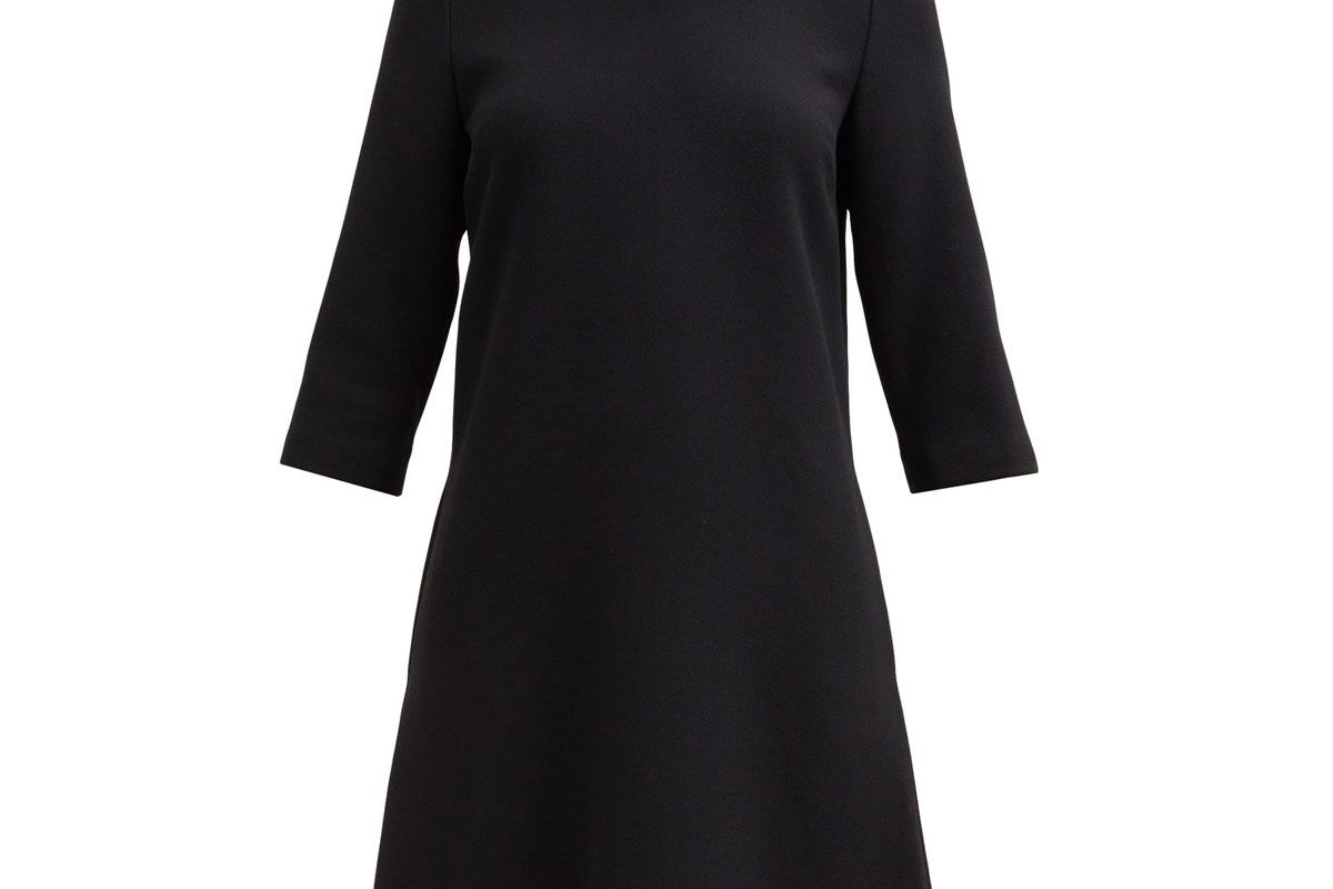 goat kensignton bow trim wool crepe shift dress