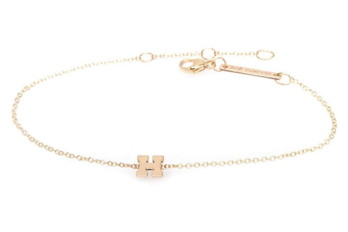 zoe chico 14k letter bracelet