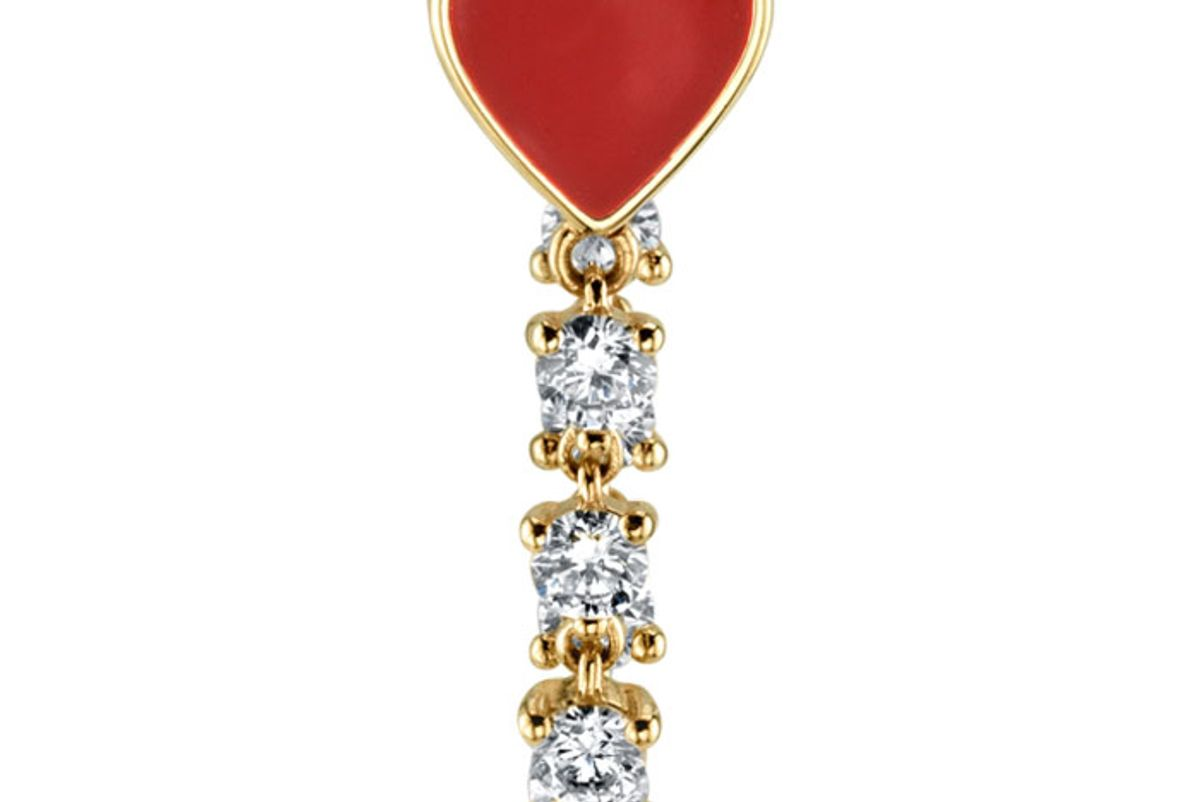 the last line diamond and red enamel heart earring
