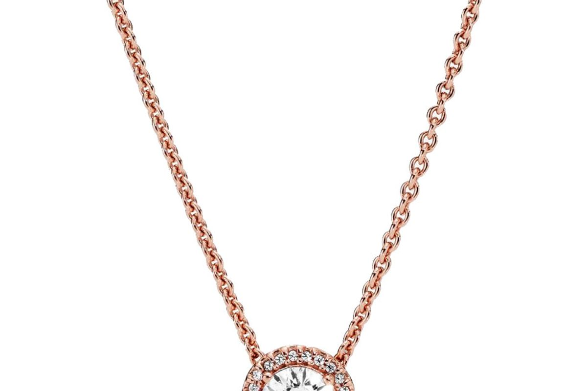 pandora round sparkle halo necklace